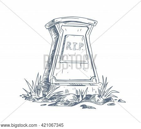 Tombstone With Rip Inscription. Rest In Peace On Gravestone. Sketch Of Headstone Of Tomb Drawn In Vi