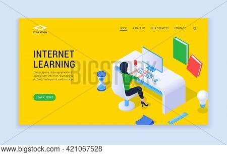 Internet Learning Concept. Landing Page Website Banner Template With Woman At Desk Studying Online F