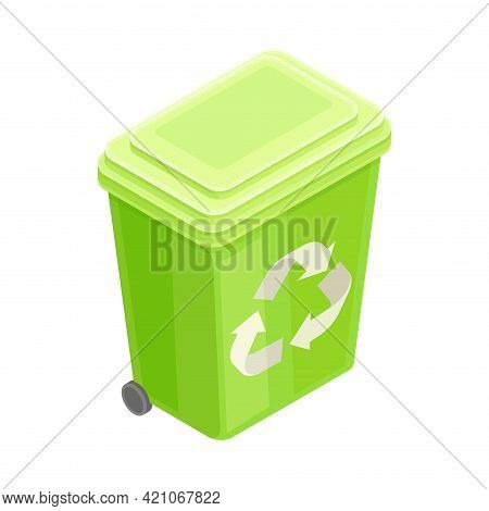 Dustbin For Recyclable Materials As Renewable Green Energy Source Isometric Vector Illustration