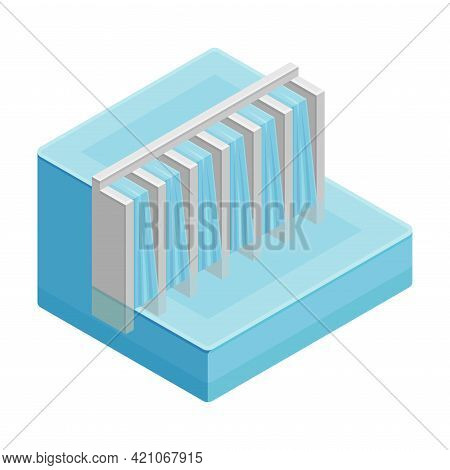 Hydroelectric Dam As Renewable Green Energy Source Isometric Vector Illustration