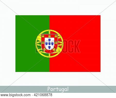 National Flag Of Portugal. Portuguese Country Flag. Portuguese Republic Detailed Banner. Eps Vector