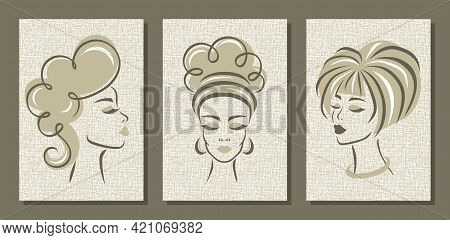 Set Of Abstract Posters With Cute Women. Paintings For Decorating The Interior Of A Hairdresser, Bea