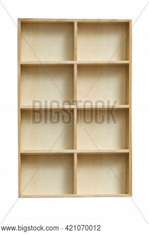 Wood Empty Shelving Box Isolated Over White