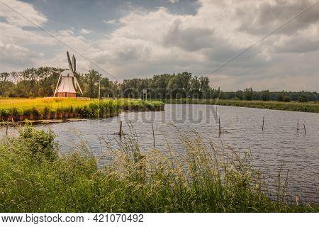 Historic Polder Drainage Windmill De Witte Molen, Haren, Netherlands