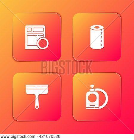Set Kitchen Dishwasher Machine, Paper Towel Roll, Rubber Cleaner For Windows And Dishwashing Liquid