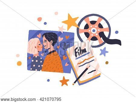 Love Story Cinema Concept. Romantic Screenplay, Hearts, Filmstrip, And Film Reel In Retro Style. Cin