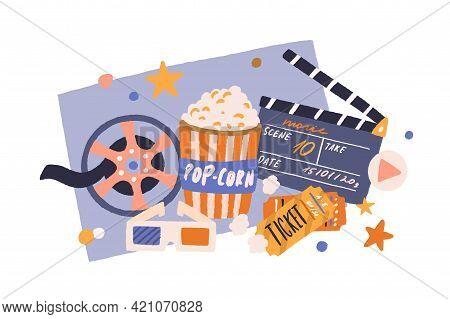 Cinema Items In Retro Style. Movie Tickets, Film Clapperboard, Popcorn Bucket, Vintage Reel, And 3d