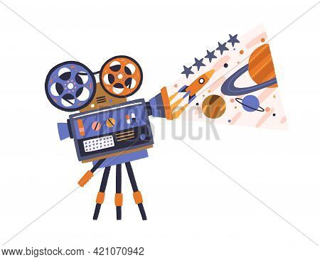 Retro Movie Projector With Reels On Tripod Showing Cinema. Film Cinematography Concept. Vintage-styl