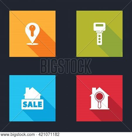 Set Location Key, House, Hanging Sign With Sale And Search House Icon. Vector
