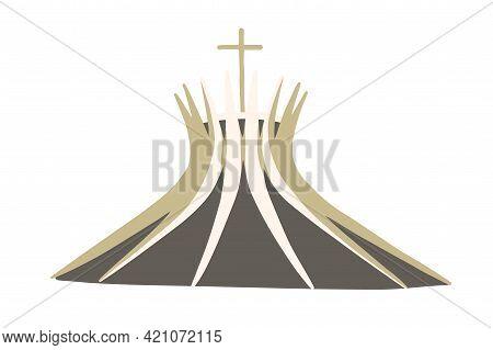 Brasilia, Brazil - May 7, 2021 Metropolitan Cathedra Of Brasil. Modern Brazilian Catholic Church Wit