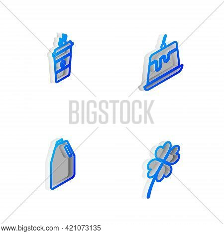 Set Isometric Line Pudding Custard, Coffee Cup, Household Chemicals Bottle And Four Leaf Clover Icon