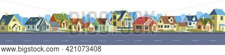Street In A Cheerful Cartoon Flat Style. Asphalt Road. A Village Or A Small Rural Town. Small Houses