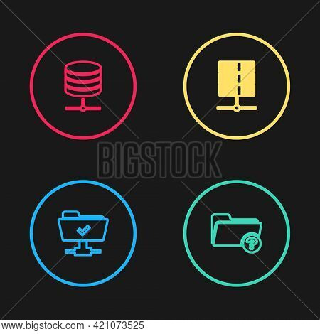 Set Line Ftp Operation Successful, Unknown Directory, Server, Data, Web Hosting And Icon. Vector