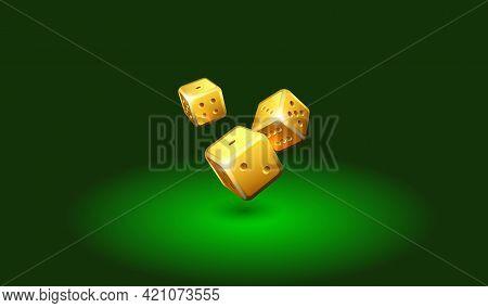 Golden Dice On Casino Table. Online Casino Dice Gambling Concept