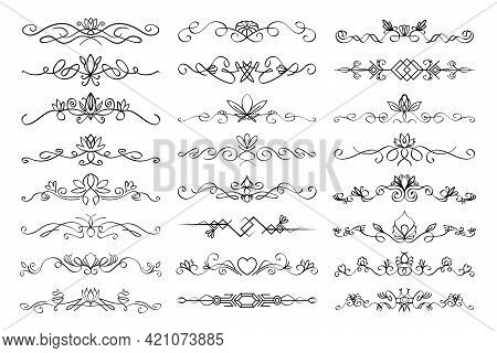 Floral Text Divider Set. Colection Of Text Dividing Flourish Linear Ornaments, With Floral Elements.