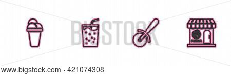 Set Line Ice Cream, Pizza Knife, Glass With Water And Pizzeria Building Facade Icon. Vector