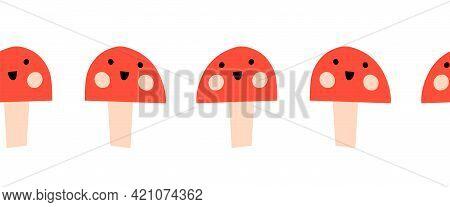 Toadstools Smiling Seamless Vector Kids Border. Cute Repeating Pattern Mushroom Fungi With Smiling F