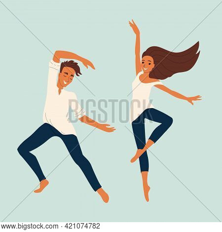 Two Young Dancers Guy And Girl, Vector Dancing Characters In Flat Style, Set Of Dancers