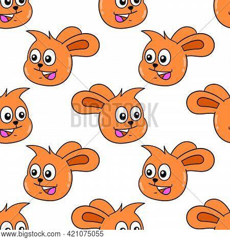 Smile Orange Bunny Seamless Pattern Textile Print. Great For Summer Vintage Fabric, Scrapbooking, Wa