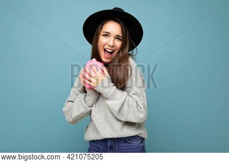 Portrait Photo Of Happy Positive Smiling Young Beautiful Attractive Brunette Woman With Sincere Emot