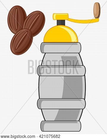 Manual Coffee Grinder On White Background Is Insulated