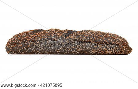 Loaf Baguette Isolated On White Background. Bun With Sesame Seeds And A Side Cut For Making Sandwich