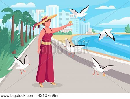 Feeding Seagulls On Coast Flat Color Vector Illustration. Relaxing Place For Solo Vacation. Stylish
