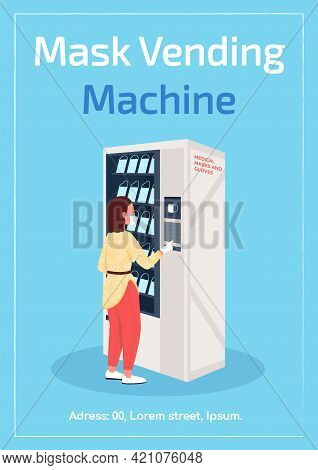 Masks Vending Machine Poster Flat Vector Template. Automating Disposable Masks Delivery. Brochure, B