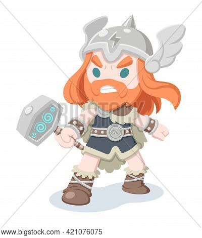 Cute Style Thor, Norse Mythology God Of Thunder Cartoon Illustration