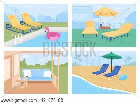 Outdoor Patio Ideas Flat Color Vector Illustration Set. Leisure Activities. Swimming Pool Year-round