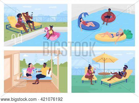 Budget-friendly Summer Retreats Flat Color Vector Illustration Set. Patio Garden. Outdoor Seating. S