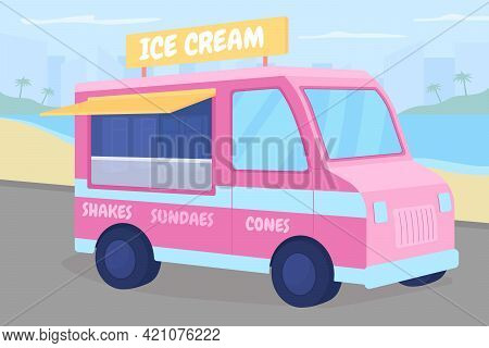 Ice Cream Truck On Beach Flat Color Vector Illustration. Selling Sundae From Automobile. Refreshment
