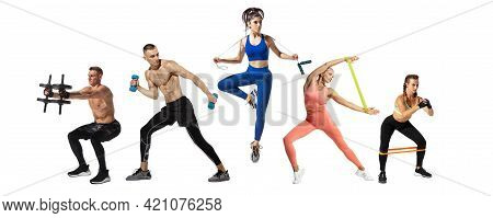 Collage Of Different Professional Sportsmen, Fit People In Action And Motion Isolated On White Backg