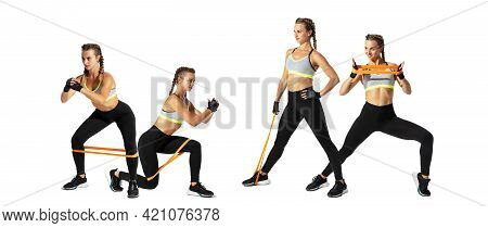 Collage Of Different Photos Of Professional Sportswoman, Athlete In Action And Motion Isolated On Wh