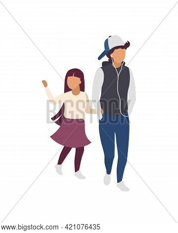 Brother And Sister Holding Hands Flat Color Vector Faceless Characters. Walking Together. Strengthen