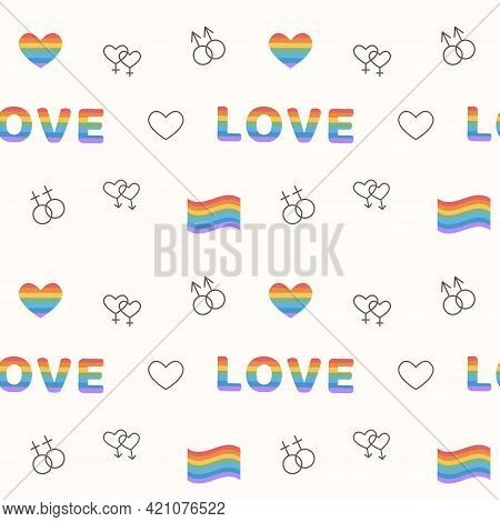 Seamless Pattern With Same Sex Signs. Lgbt Marriage Outline Icons. Background With Lined Art Element