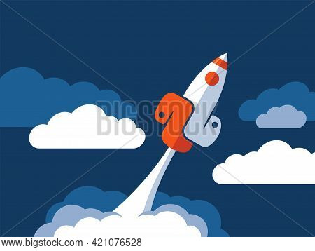 High Perfomance Of Popular Programming Language - Spaceship Flight With Wings In Form Of Emblem. Vec