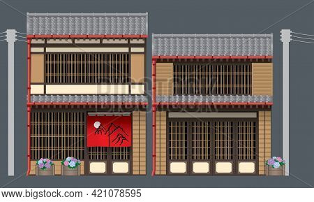 Two Beautiful Traditional Wooden Building In Japan. Vector, Isolated With Plain Color Background.