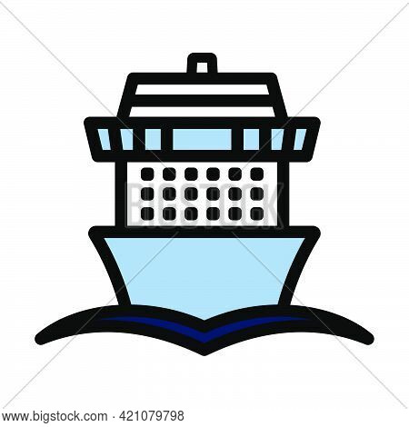 Cruise Liner Icon. Editable Bold Outline With Color Fill Design. Vector Illustration.