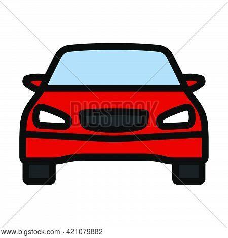 Sedan Car Icon. Editable Bold Outline With Color Fill Design. Vector Illustration.