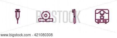 Set Line Syringe, Toothbrush, Otolaryngological Head Reflector And X-ray Machine Icon. Vector