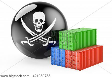 Cargo Containers With Piracy Smuggle, 3d Rendering Isolated On White Background
