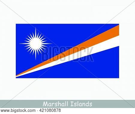 National Flag Of Marshall Islands. Marshallese Country Flag. Republic Of The Marshall Islands Detail