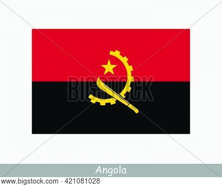 National Flag Of Angola. Angolan Country Flag. Republic Of Angola Detailed Banner. Eps Vector Illust
