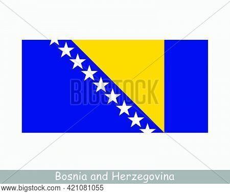 National Flag Of Bosnia And Herzegovina. Bosnian And Herzegovinian Country Flag Detailed Banner. Eps