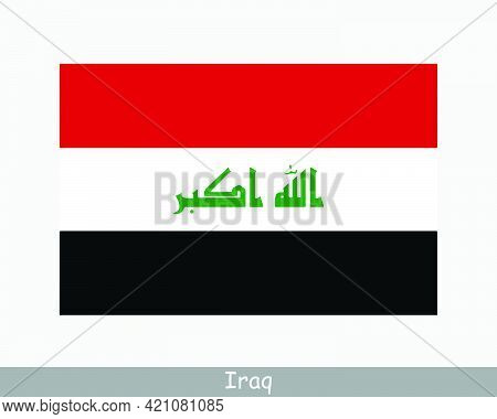 National Flag Of Iraq. Iraqi Country Flag. Republic Of Iraq Detailed Banner. Eps Vector Illustration
