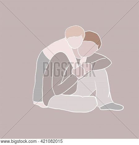 Father And Son Abstract Portrait, Vector Clipart, Freehand Illustration, Family Picture Good For Car