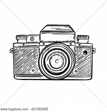 Photocamera Retro Professional Technique Of The Past Century Monochrome Drawing In Sketch Style Clip