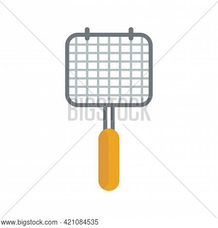Barbeque Hand Grill Grate For Outdoor Grilling. Camping And Picknic Tool. Flat Vector Illustration I