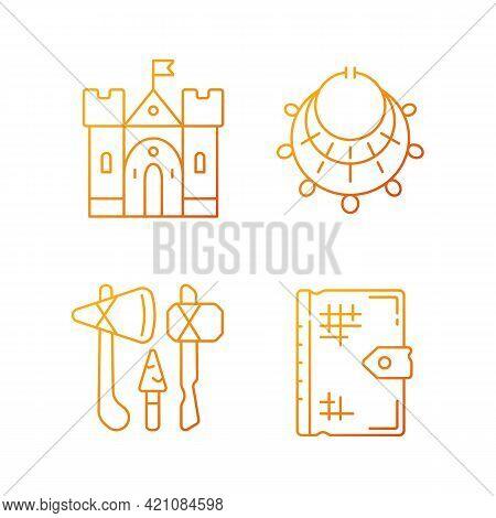 Antiquities Excavation Gradient Linear Vector Icons Set. Medieval Castle. Excavated Treasure. Stone